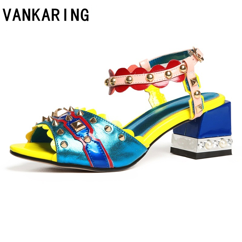 VANKARING women gladiator sandals summer shoes new sexy high heels genuine leather rivets shoes woman dress