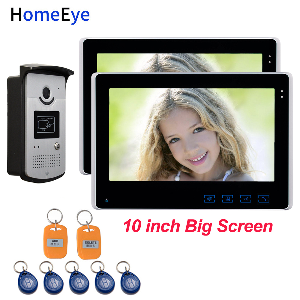 HomeEye 10'' Video Door Phone Video Intercom 1V2 Home Access Control System+RFID Card Reader 1200TVL Waterproof Touch Button OSD