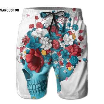 Quick dry ultra-light breathable Personalized creative 3D printing Skull And Flowers beach shorts