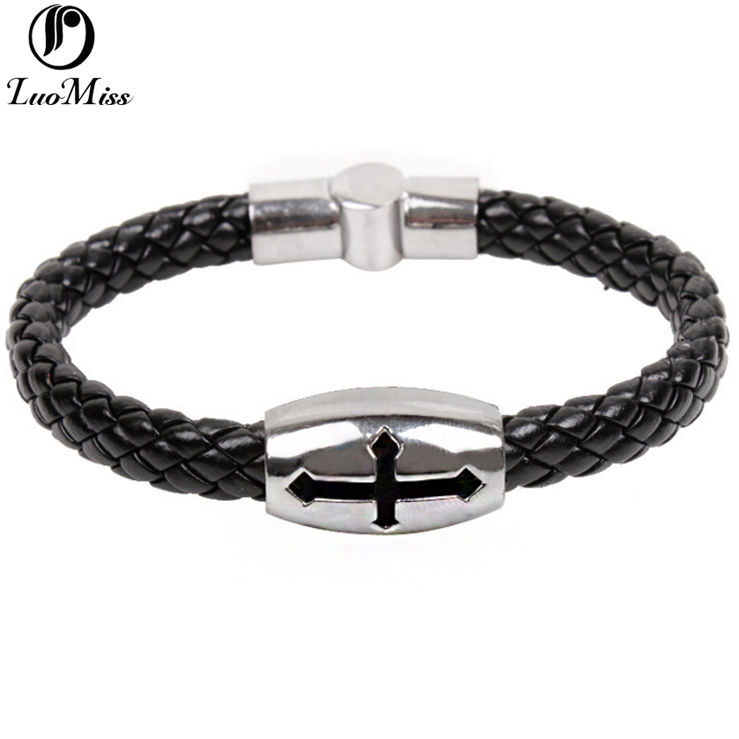 Punk style leather braided magnetic clasp skull bracelet snap button jewelry