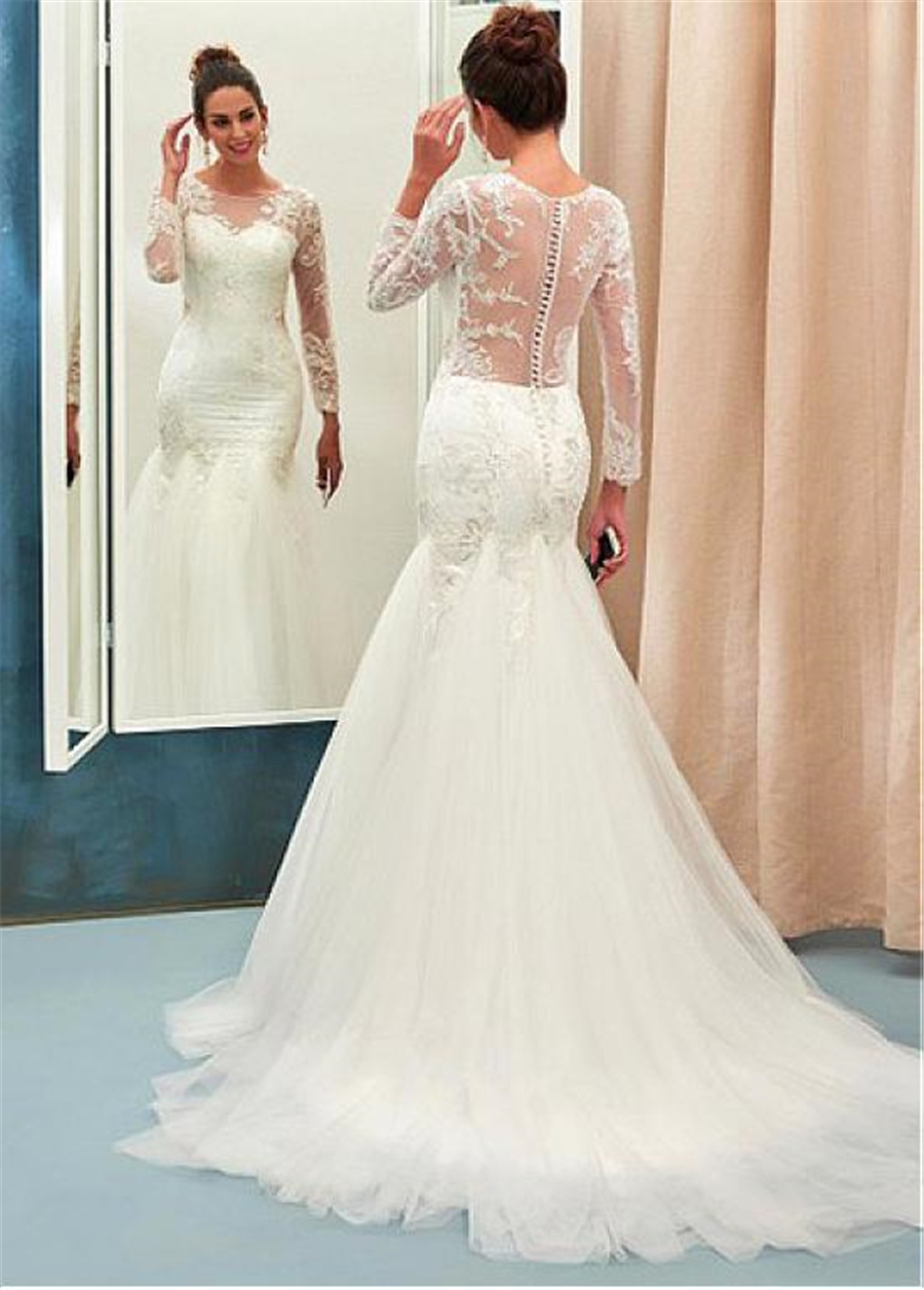Image 3 - Chic Tulle Jewel Neckline Mermaid Wedding Dress With Beaded Lace Appliques Long Sleeves See Through Bridal Dresses-in Wedding Dresses from Weddings & Events