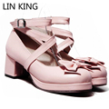 LIN KING Women Pumps Med Square Heel PU Ankle Strap Buckle Bowtie Round Toe Cosply Shoes Party Coss Strap Lolita Shoes Big Size