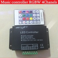 4CH 24 chave RF controle remoto RGBW controlador de música, cor sonho levou música controlador DC12-24V rgbw para RGBW led strip frete grátis