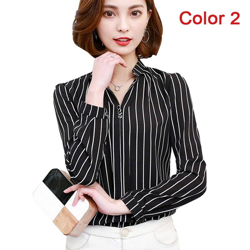 Women's Clothing Nice 2018 New Slim Chiffon Women Blouse Shirt V-neck Long Sleeve Women Tops Striped Printed Ol Blouse Womens Clothing Blusas D211 30