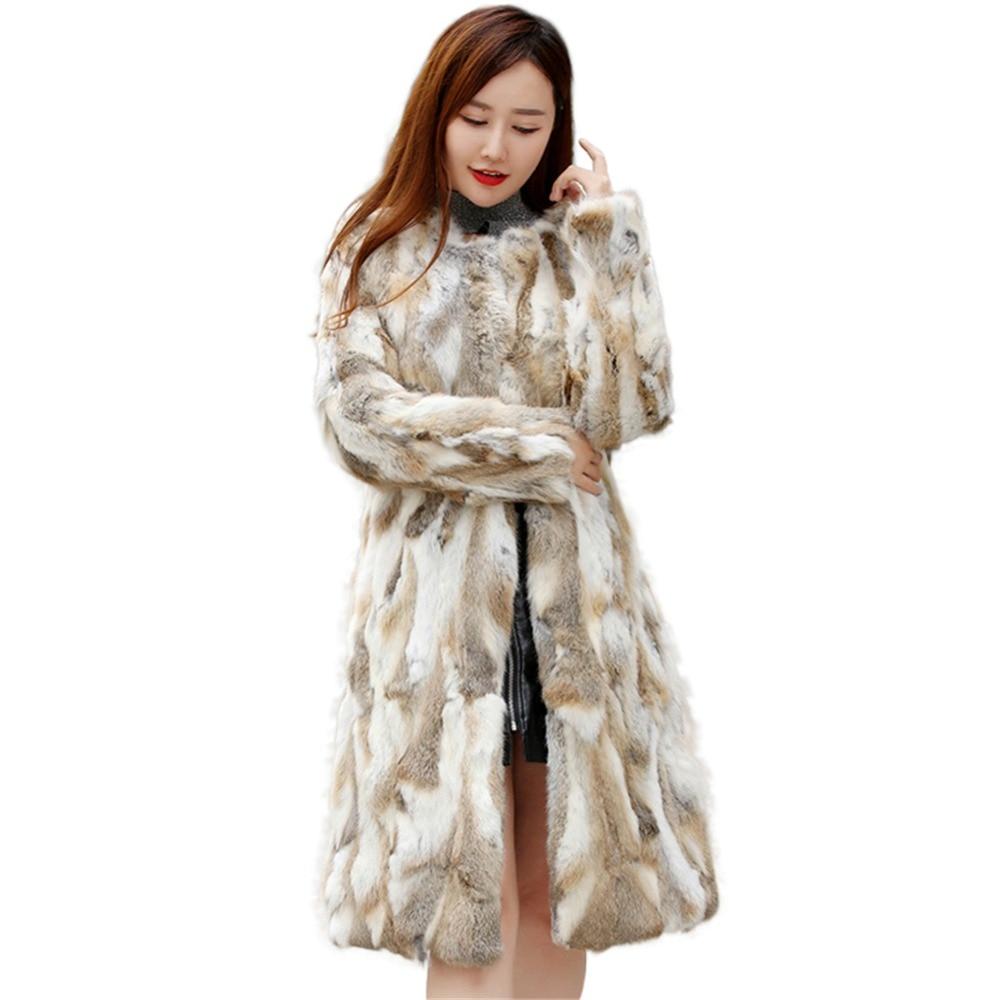 Christmas Dress Genuine Natural X-long Rabbit Fur Coat FULL PELT Ladies 90CM Long Real Rabbit Fur Overcoats Outwear Over Coat