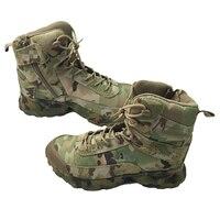 Buty Taktyczne Wojskowe Armii Kamuflażu Multicam CP Wytrzymała Miękka Oddychająca Skóra Podróż Odkryty Polowanie Bojowe Buty Wspinaczkowe