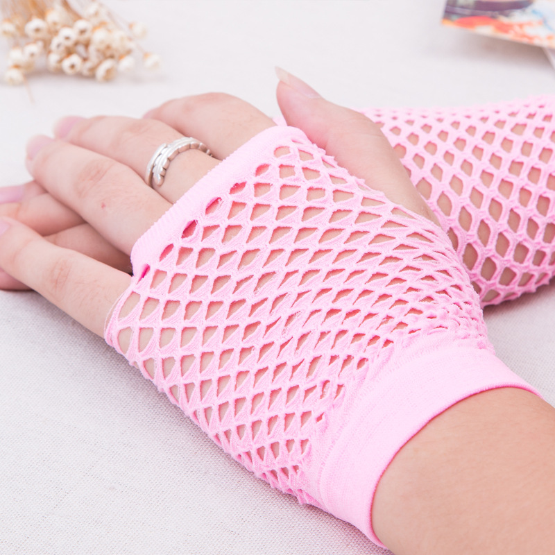 New 10 Colors Beauty Sexy Gilrs Short Fishnet Gloves Fingerless net Gloves Party Gloves Neon Bride  Gloves F0240