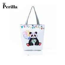 4c31f8b376f6 Perilla 2018 Women Casual Summer Beach Bag Lunch Bag Hot Sale Fashion High  Quality Canvas Cartoon Panda Handbags Shoulder Bag