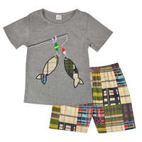 Factory Wholesale Price New Design Toddler Boy Clothing Set Summer Fish Embroidery Boutique Shorts Baby Remake
