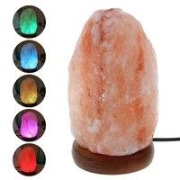 YAM Natural Hand Carved USB Wooden Base Himalayan Crystal Rock Salt Lamp Air Purifier Night Light