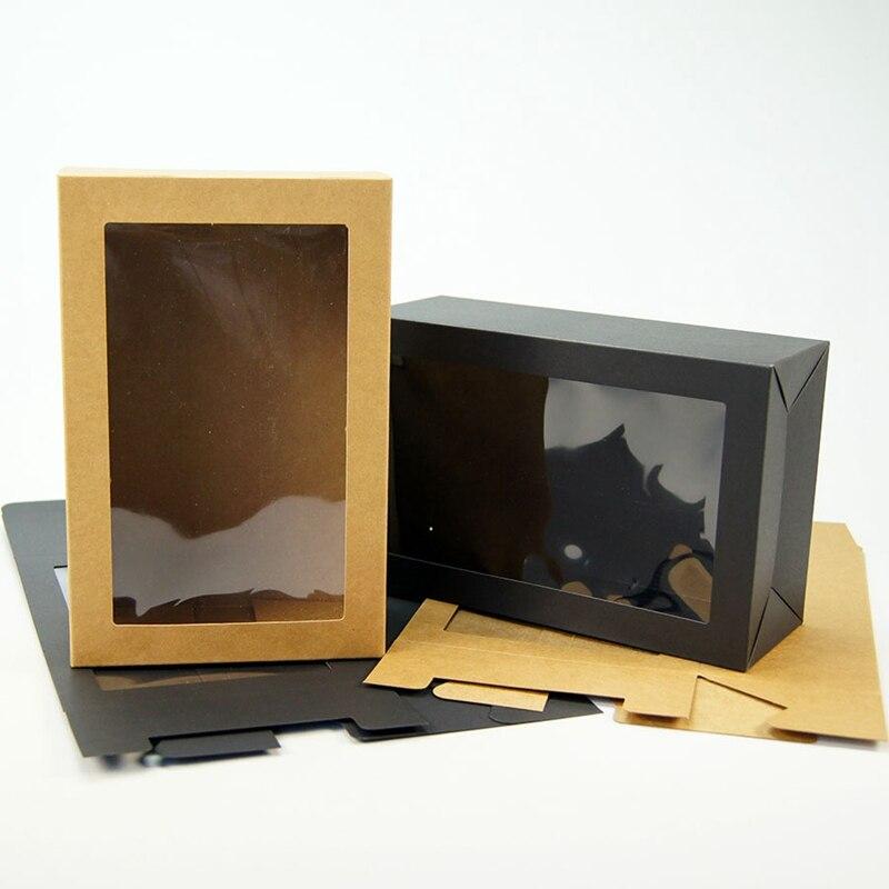 10PCS 15x8.5x23cm Brown Kraft Paper Box With Window Gift Box Packaging Carton Paperboard Box Packaging Box