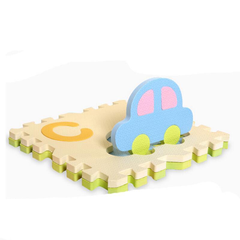 30*30*1.4 cm épaississement EVA dessin animé couleurs sombres et claires bébé ramper plancher tapis de jeu jouet alphabet anglais puzzle - 3