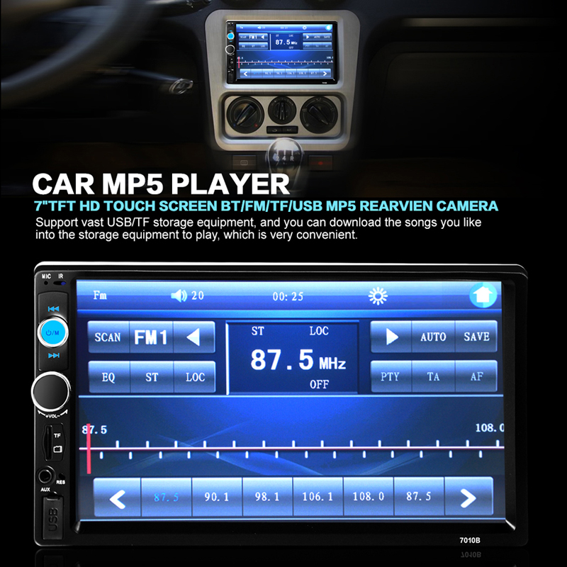 7inch TFT HD Digital Touch Screen Bluetooth 2 Din Car Stero Radio MP5 Player Support FM