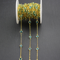 6mm,5 Meters,Clear Blue Glass Chains with Wire Wrapped Golden Plated Links,Faceted Round Coin Shape Beads Necklace