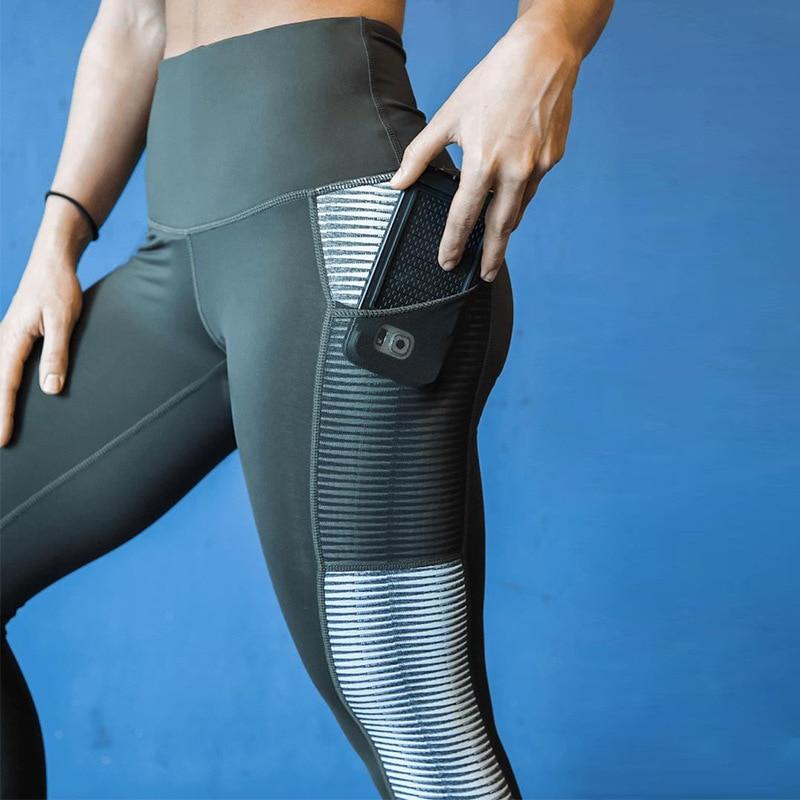 Nessaj Pocket High Waist Leggings Women Fitness Workout Activewear Printing Trouser Fashion Patchwork Push Up Female Leggings