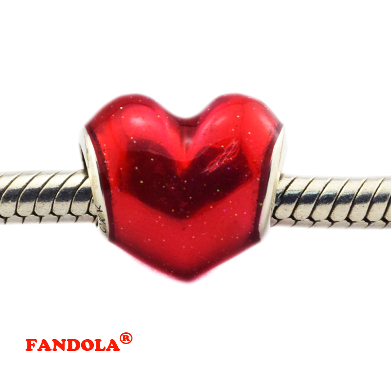 Fit Pandora Bracelets In My Heart Beads with Red Enamel Authentic 925 Sterling Silver Charms for