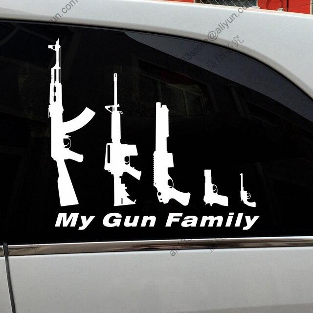 My gun family ak47 ar15 gun funny car sticker decal vinyl bumper truck window die