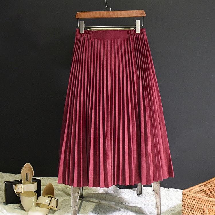 Image 2 - 2019 New Fashion Autumn Women Suede Skirt Pink White Long Pleated Skirts Womens Saias Midi Faldas Vintage Women Midi Skirt-in Skirts from Women's Clothing