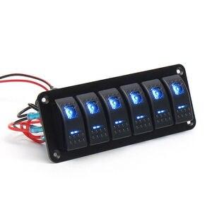 Image 4 - 6 Gang Rocker Switch Panel met Blauwe LED Licht Circuit Breaker voor Marine/auto Waterdichte IP67 Zwart duurzaam effen aluminium paneel