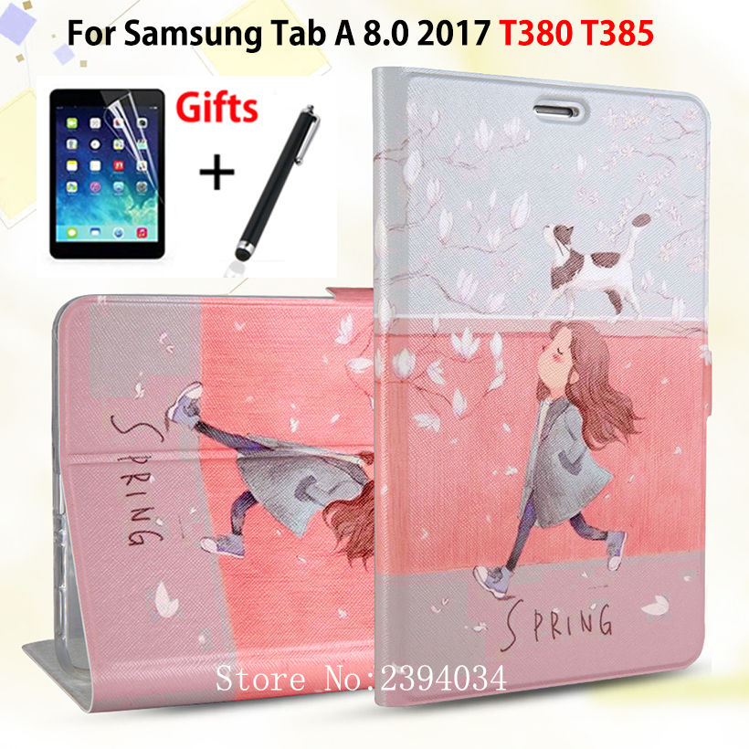 Slim Fashion PU Case For Samsung Galaxy Tab A 8.0 SM-T380 T385 2017 8.0 Smart Cover Funda Tablet Stand Cover Skin+Film+PenSlim Fashion PU Case For Samsung Galaxy Tab A 8.0 SM-T380 T385 2017 8.0 Smart Cover Funda Tablet Stand Cover Skin+Film+Pen