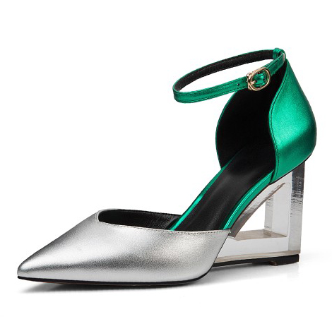 ФОТО 2017 Full Grain Leather Summer Women's Cover Heel Pumps fashion ladies handmade Mixed Colors Strange Style Pointed Toe sandals