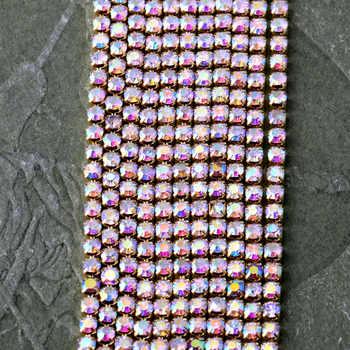 SS6 de 8,10 12 10 m todo el tamaño Cristal AB cupchain ajuste dorado diamantes de imitación cierre boda adornos apliques de novia bandas