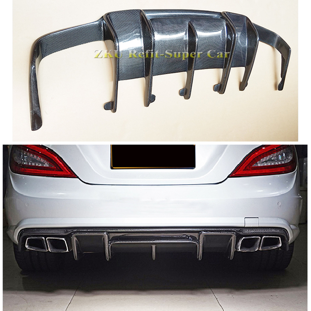 US $276 0 |Renntech Style Carbon Fiber Rear Diffuser Spoiler for Benz CLS  Class W218 CLS350 320CLS63 2012 2019-in Bumpers from Automobiles &