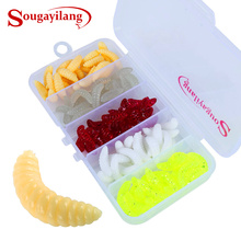 Sougayilang 100Pcs Soft Worm Artificial Baits with ABS Plastic Fishing Tackle Box Soft Fishing Lure Kit
