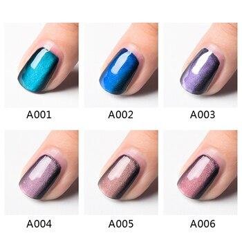 Magnetic 5D Cat Eye UV Gel Nail Polish Magnet Laser Nail Art Varnish Starry Sky Jade Effect Soak Off UV Gel Nail Art Lacquer 4