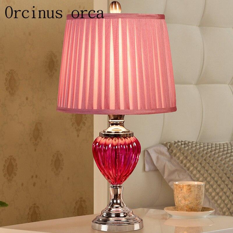 Европейский стиль Свадебный номер подарок лампы гостиная спальня ночники современный минималистский Теплый Розовый Творческий стекло лам...