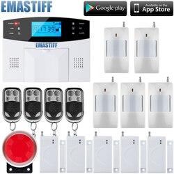 Teclado lcd ru/sp/eg/fr/it voz sem fio sms casa sistema de alarme gsm casa inteligente sistemas de alarme de segurança de porta do assaltante automático