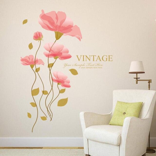 pastoral lotus dekorasi rumah stiker dinding mural kreatif