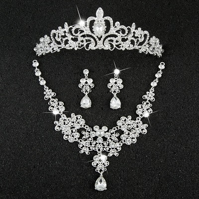 Hot Sale Sliver Plated Rhinestone Crystal Necklace+Earrings+Tiara 3pcs Jewelry Set For Bride Bridal Wedding Accessories (25)