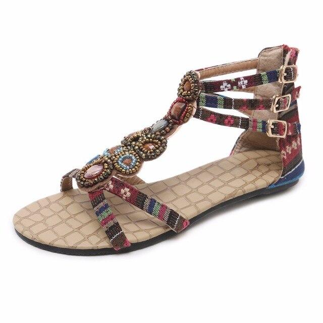 431b13d4d Women Boho Sandals Flat Heel Beads Metal Buckle Rhinestone Bohemian Pattern  Denim Upper Beach Shoesn Zip Back Bohemia Shoes