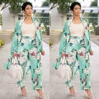 Women Two Piece Sets Leisure Trouser Suits X Long Cardigan Cloak + Wide Leg Pants Set Autumn Print Floral Sets Outfit Tracksuits