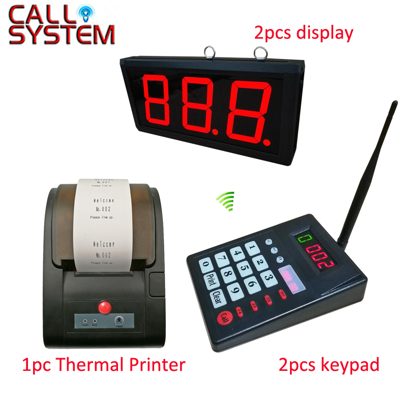 2 keyboard 2 Number Screen 1 Thermal Printer Wireless Queue Calling Paging System for Cafe shop mindewin restaurant queue management system wireless queuing number display electronic calling number led display