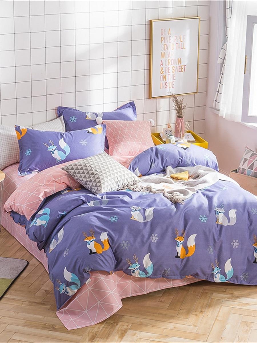 4 Pcs Duvet Cover Set Cute Cartoon Pattern Comfortable Bedding Set 4 Pcs Duvet Cover Set Cute Cartoon Pattern Comfortable Bedding Set