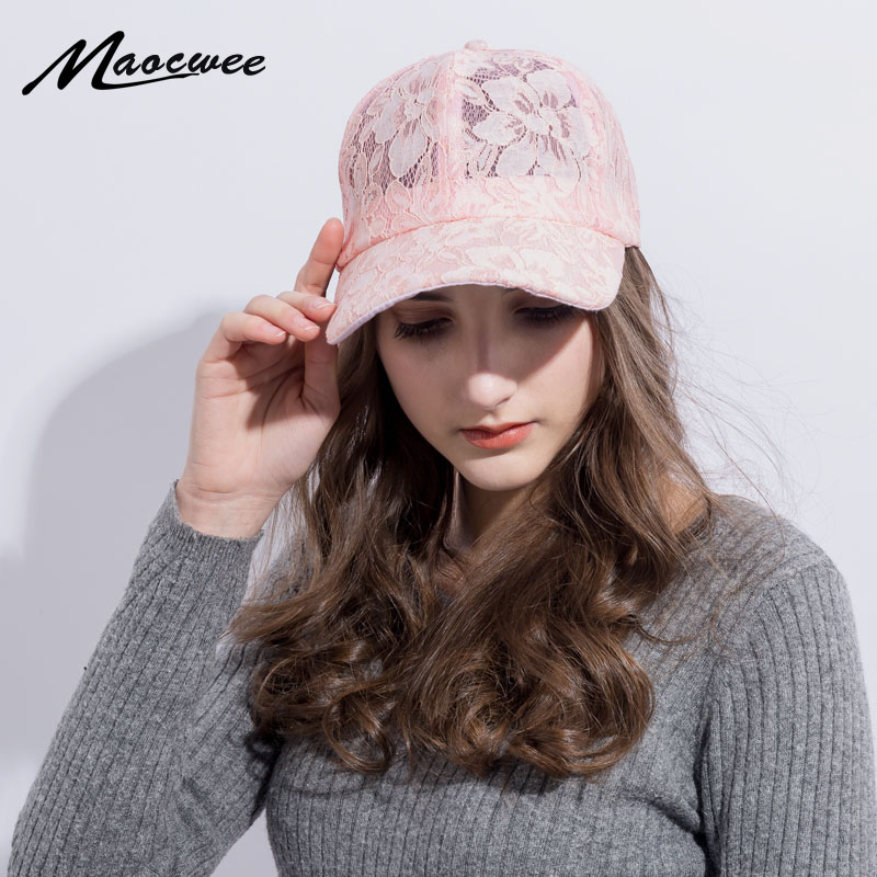 1pc New Fashion Girl Lace Baseball Cap Active Breathable Mesh Sun Hat with Flower Student Style Summer Hats Snap Bones Wholesale