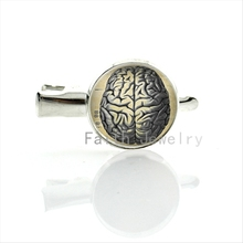 Silver Plated Glass Round vintage Human Anatomy Brain image hairgrip Weird Cool Science hair clip school students hair pins T208
