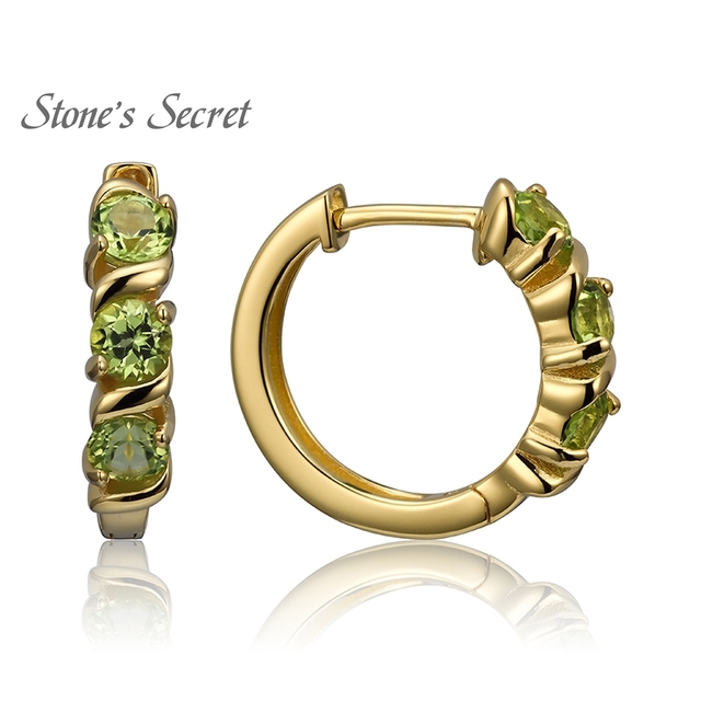 Natural Peridot 18k Yellow Gold Over Sterling Silver Hoop Earrings Genuine Gemstones Jewelry
