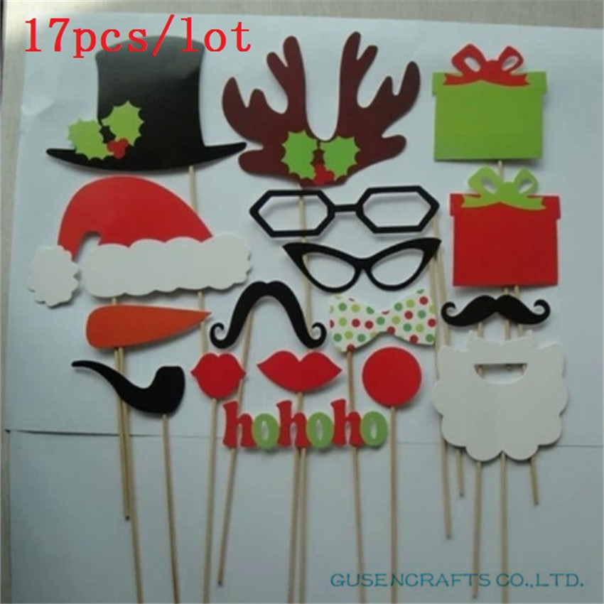 A Set of 17pcs DIY Animal Photo Booth Props on A Stick Baby Shower Kids Party Decoration Centerpieces Hot Christmas Decor