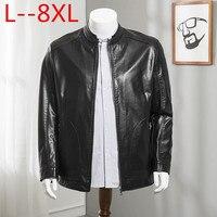 8XL Leather Jacket Men Design Stand Collar Male Casual Motorcycle Leather Jacket Mens Veste en cuir genuine jackets jaqueta