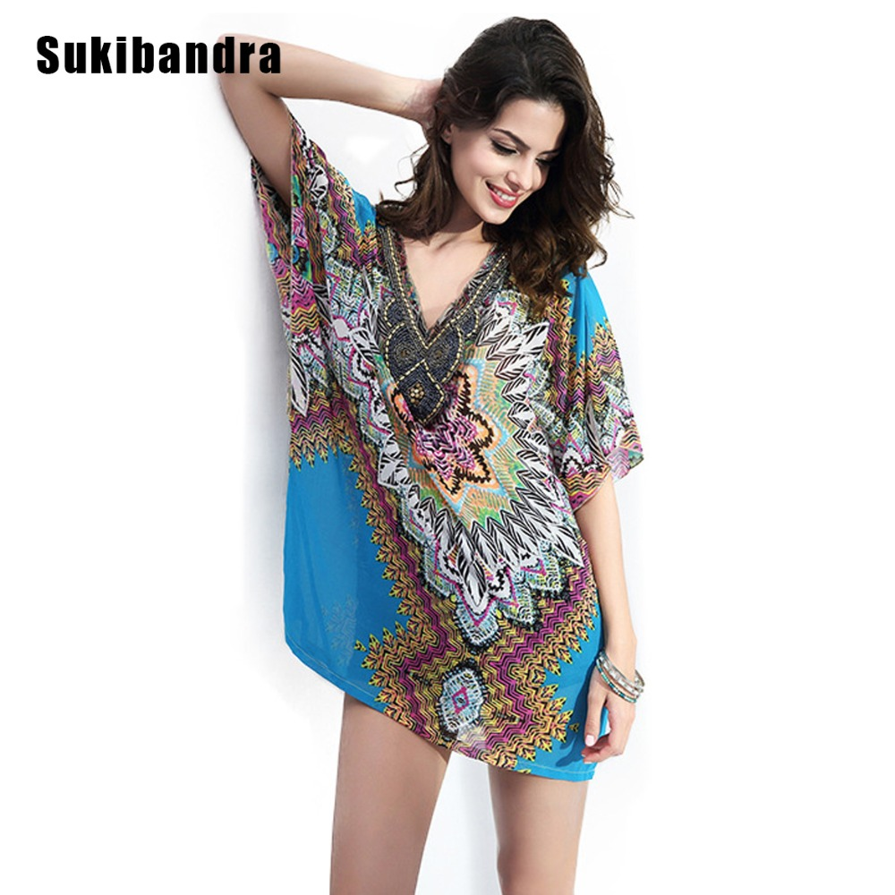 Sukibandra Fashion Women Short Sleeve Chiffon Blouse Beads Vintage Boho Summer Beach Ladies Tops V Neck Sexy Printed Blouses