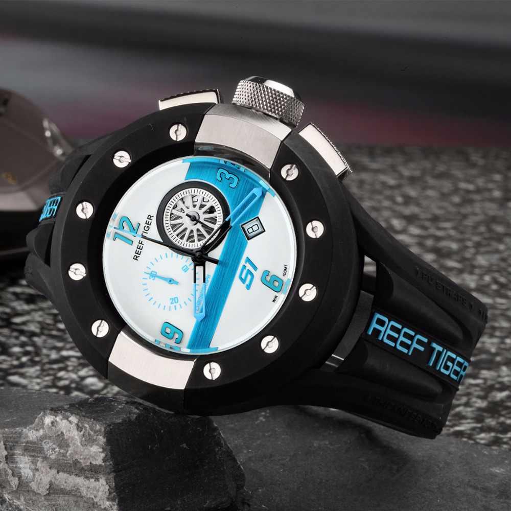 Reef tiger aurora serier rga3027 cronógrafo masculino e esporte relógios de corrida dashboard dial movimento quartzo relógio de pulso com data