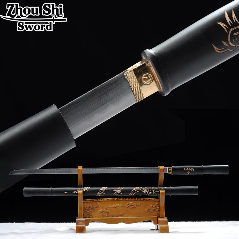 Espadas Katana Hand made 1060 carbon steel straight knife carved knife shell Black home decorationsEspadas Katana Hand made 1060 carbon steel straight knife carved knife shell Black home decorations