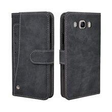 Caso Carteira de luxo Para Samsung Galaxy J2 J3 J5 J7 2016 Slots para Cartões de Caso TPU capa de Silicone Capa de Couro Da Aleta Do Vintage