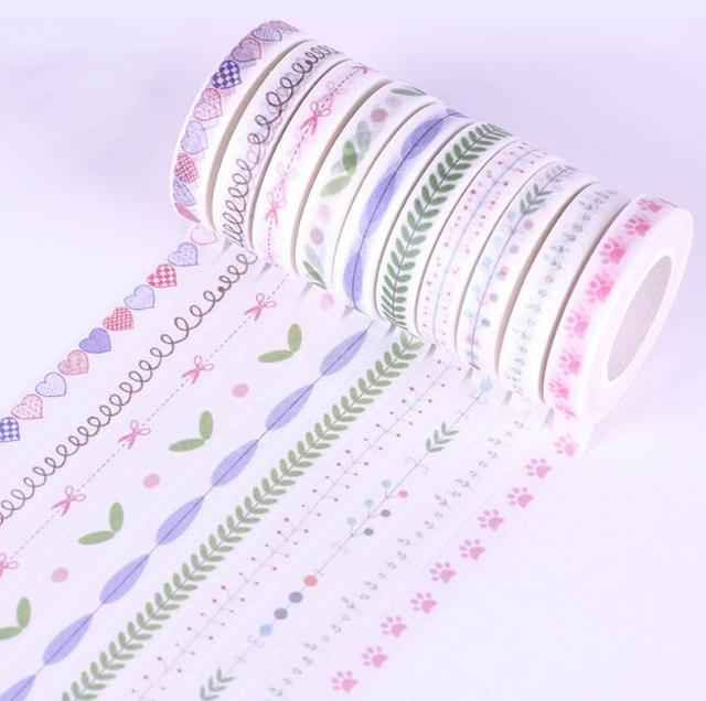 2016 New arrival 10Pcs/set 8mmx10m fresh style japanese Heart washi tape for decoration