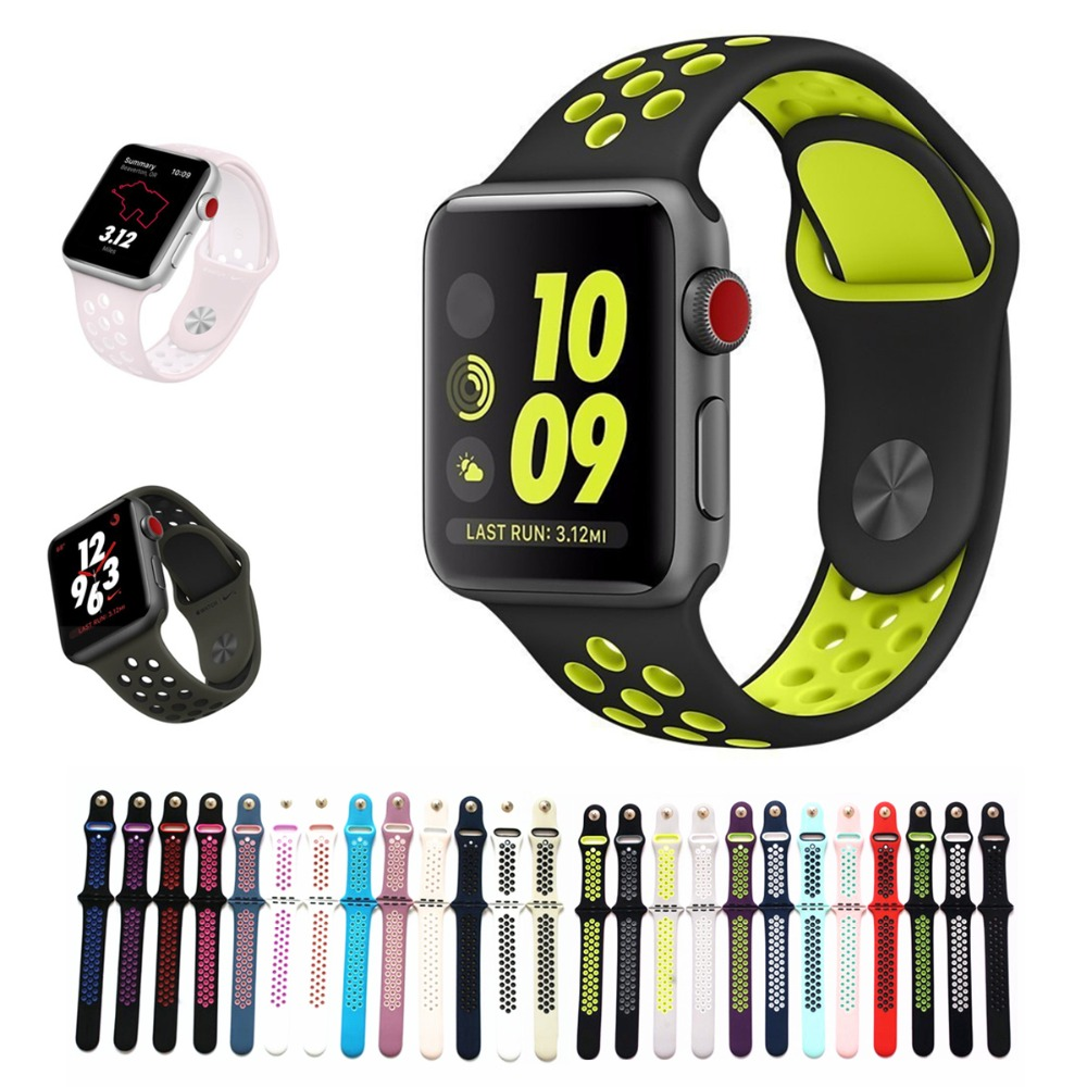 Sports Silicone strap for apple watch iwatch band 42mm 38mm for iwatch Series123 band men Rubber bracelet With Adapter