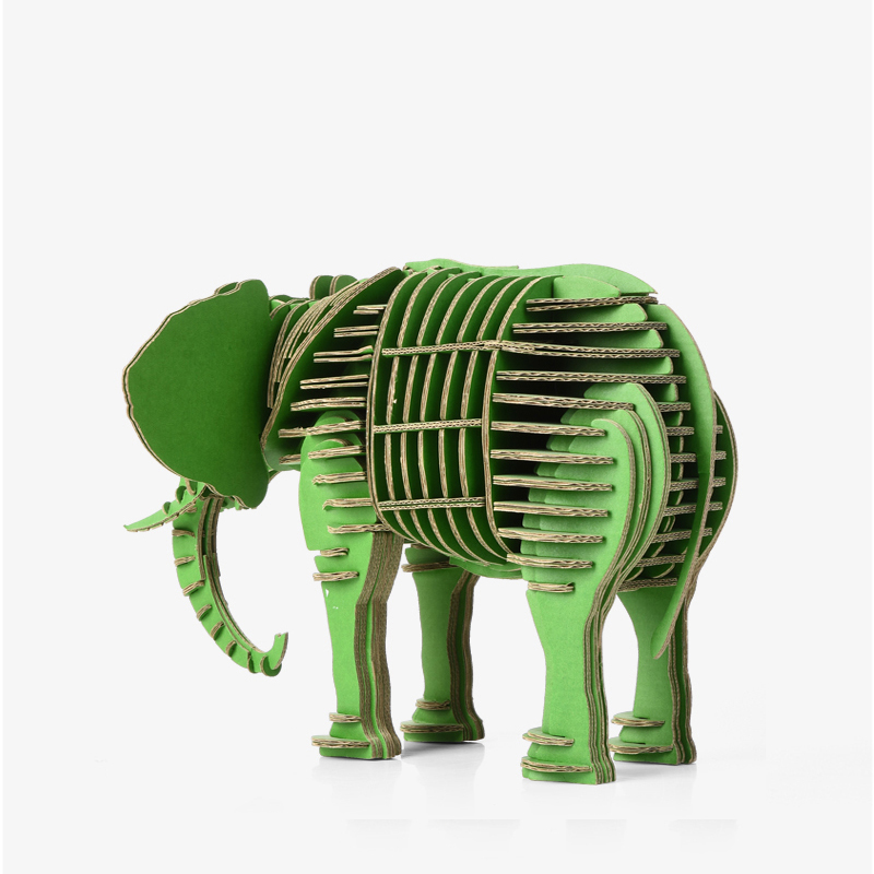 baby toys for children Elephant Head Wall Decoration Sculpture 3D Jigsaw Puzzle Cardboard DIY Handmade Creative Home Decoration led 3d puzzle toys l503h empire state building models cubicfun diy puzzle 3d toy models handmade paper puzzles for children