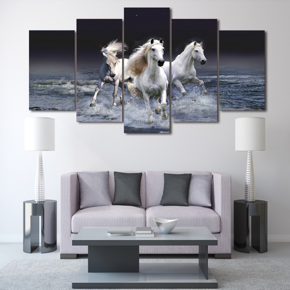 5 Pe A Da Arte Da Lona Animal Whitehorse Decora O Da Sala De  -> Arte Parede Sala